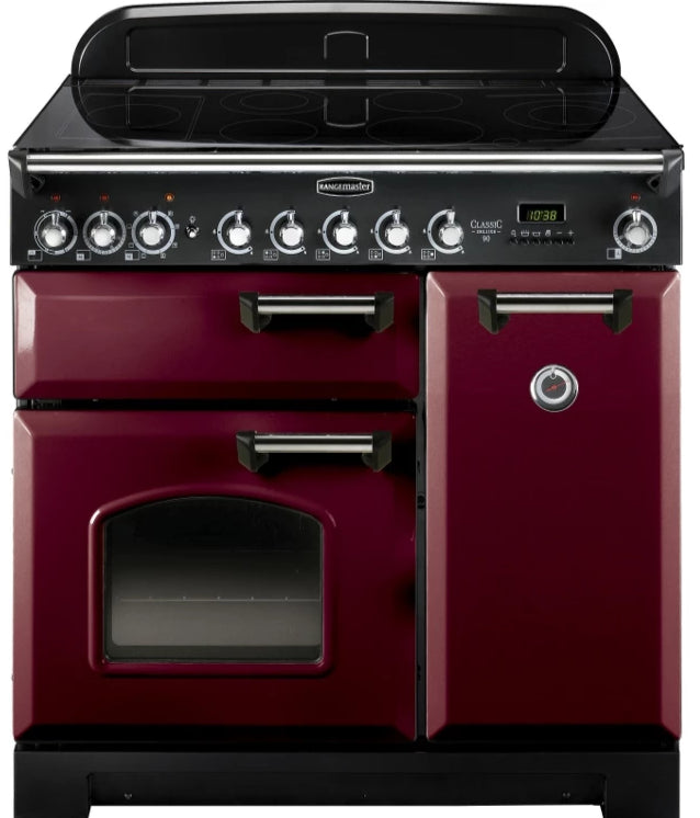 Rangemaster Classic Deluxe CDL90ECCY/C 90cm Electric Range Cooker with Ceramic Hob - Cranberry/Chrome Trim