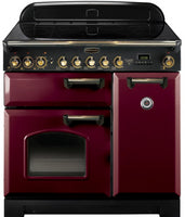 Rangemaster Classic Deluxe CDL90ECCY/B 90cm Electric Range Cooker with Ceramic Hob - Cranberry/Brass Trim