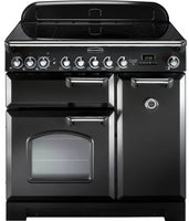 Rangemaster Classic Deluxe CDL90EIBL/C 90cm Electric Range Cooker with Induction Hob - Black/Chrome Trim