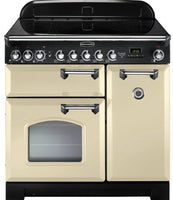 Rangemaster Classic Deluxe CDL90EICR/C 90cm Electric Range Cooker with Induction Hob - Cream/Chrome Trim