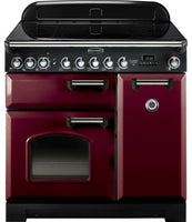 Rangemaster Classic Deluxe CDL90EICY/C 90cm Electric Range Cooker with Induction Hob - Cranberry/Chrome Trim