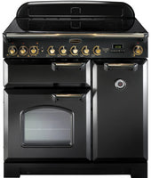 Rangemaster Classic Deluxe CDL90EIBL/B 90cm Electric Range Cooker with Induction Hob - Black/Brass Trim