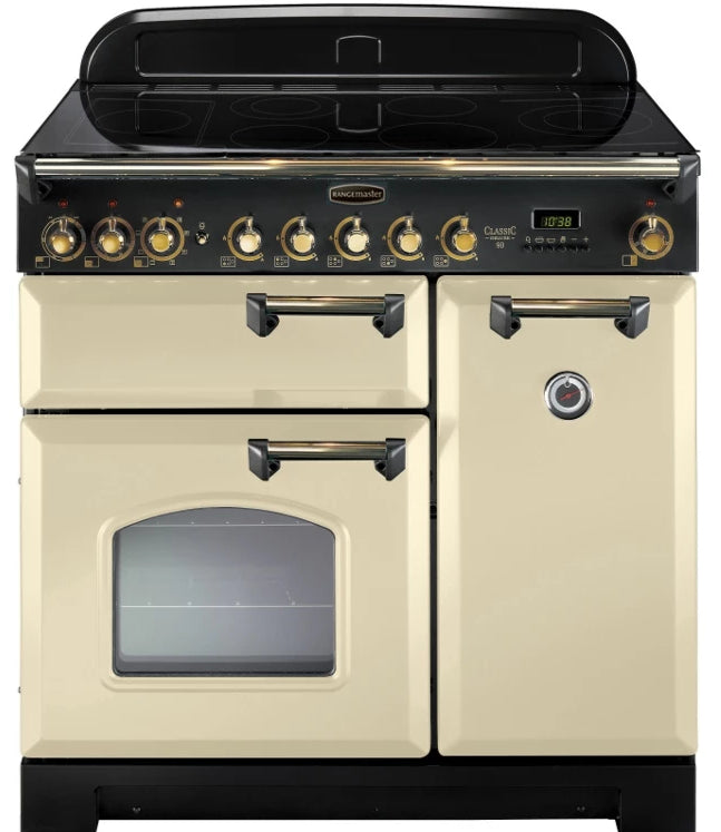 Rangemaster Classic Deluxe CDL90EICR/B 90cm Electric Range Cooker with Induction Hob - Cream/Brass Trim