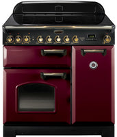 Rangemaster Classic Deluxe CDL90EICY/B 90cm Electric Range Cooker with Induction Hob - Cranberry/Brass Trim