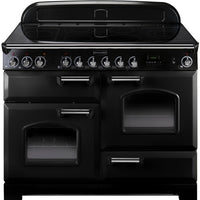 Rangemaster Classic Deluxe CDL110EIBL/C 110cm Electric Range Cooker with Induction Hob - Black/Chrome Trim