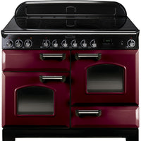 Rangemaster Classic Deluxe CDL110EICY/C 110cm Electric Range Cooker with Induction Hob - Cranberry/Chrome Trim