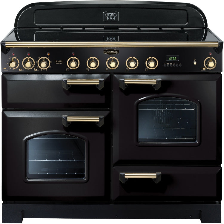 Rangemaster Classic Deluxe CDL110EIBL/B 110cm Electric Range Cooker with Induction Hob - Black/Brass Trim