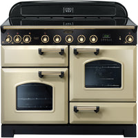 Rangemaster Classic Deluxe CDL110EICR/B 110cm Electric Range Cooker with Induction Hob - Cream/Brass Trim