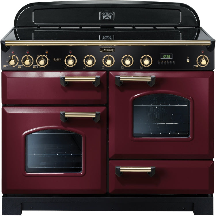 Rangemaster Classic Deluxe CDL110EICY/B 110cm Dual Fuel Range Cooker with Induction Hob - Cranberry/Brass Trim