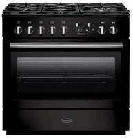 Rangemaster Professional Plus FX PROP90FXDFFGB/C 90cm Dual Fuel Range Cooker - Black/Chrome Trim