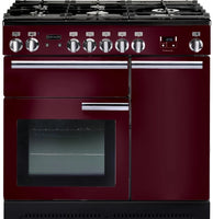 Rangemaster Professional Plus PROP90DFFCY/C 90cm Dual Fuel Range Cooker - Cranberry/Chrome Trim