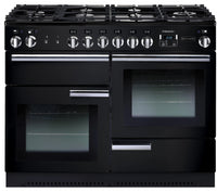 Rangemaster Professional Plus PROP110DFFGB/C 110cm Dual Fuel Range Cooker - Black/Chrome Trim