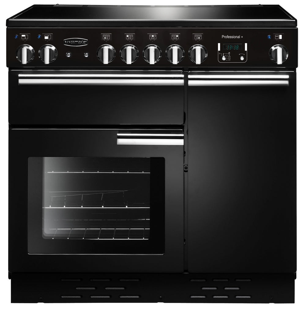 Rangemaster Professional Plus PROP90EIGB/C 90cm Electric Range Cooker with Induction Hob - Black/Chrome Trim