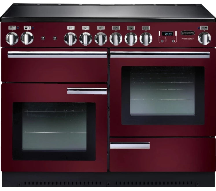 Rangemaster Professional Plus PROP110EICY/C 110cm Electric Range Cooker with Induction Hob - Cranberry/Chrome Trim