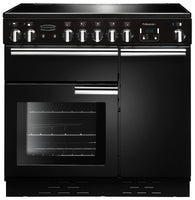Rangemaster Professional Plus PROP90ECGB/C 90cm Electric Range Cooker with Ceramic Hob - Black/Chrome Trim