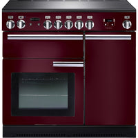Rangemaster Professional Plus PROP90ECCY/C 90cm Electric Range Cooker with Ceramic Hob - Cranberry/Chrome Trim