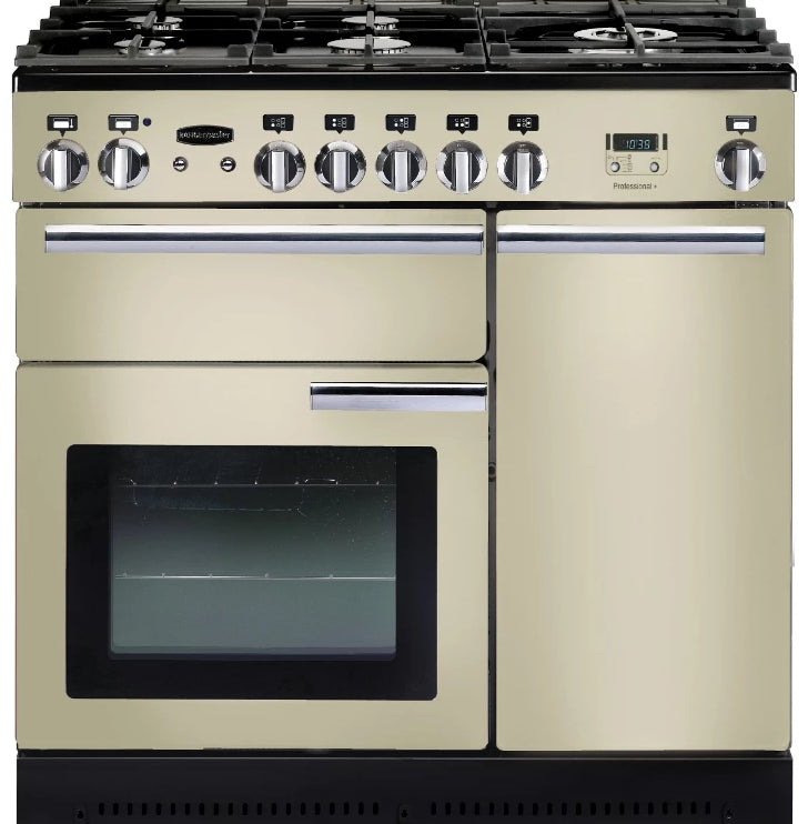 Rangemaster Professional Plus PROP90NGFCR/C 90cm Gas Range Cooker - Cream/Chrome Trim