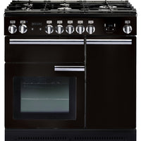 Rangemaster Professional Plus PROP90NGFGB/C 90cm Gas Range Cooker - Black/Chrome Trim