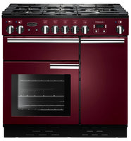 Rangemaster Professional Plus PROP90NGFCY/C 90cm Gas Range Cooker - Cranberry/Chrome Trim