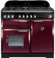 Rangemaster Classic Deluxe CDL100DFFCY/C 100cm Dual Fuel Range Cooker - Cranberry/Chrome Trim