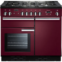 Rangemaster Professional Plus PROP100DFFCY/C 100cm Dual Fuel Range Cooker - Cranberry/Chrome Trim