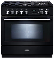 Rangemaster Professional Plus FXP PROP90FXPDFFGB/C 90cm Dual Fuel Range Cooker - Black/Chrome Trim