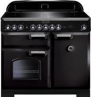 Rangemaster Classic Deluxe CDL100EIBL/C 100cm Electric Range Cooker with Induction Hob - Black/Chrome Trim