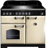 Rangemaster Classic Deluxe CDL100EICR/C 100cm Electric Range Cooker with Induction Hob - Cream/Chrome Trim
