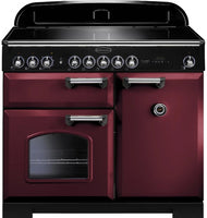 Rangemaster Classic Deluxe CDL100EICY/C 100cm Electric Range Cooker with Induction Hob - Cranberry/Chrome Trim