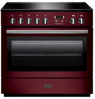 Rangemaster Professional Plus FX PROP90FXEICY/C 90cm Electric Range Cooker with Induction Hob - Cranberry/Chrome Trim