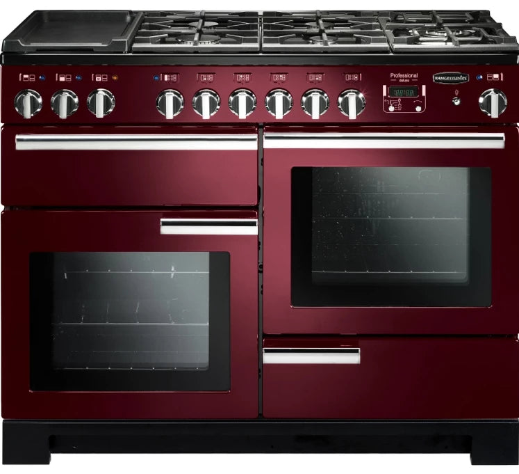 Rangemaster Professional Deluxe PDL110DFFCY/C 110cm Dual Fuel Range Cooker - Cranberry/Chrome Trim