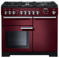 Rangemaster Professional Deluxe PDL100DFFCY/C 100cm Dual Fuel Range Cooker - Cranberry/Chrome Trim