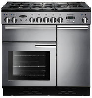 Rangemaster Professional Deluxe PDL90DFFSS/C 90cm Dual Fuel Range Cooker - Stainless Steel/Chrome Trim