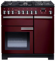 Rangemaster Professional Deluxe PDL90DFFCY/C 90cm Dual Fuel Range Cooker - Cranberry/Chrome Trim