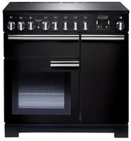 Rangemaster Professional Deluxe PDL90EIGB/C 90cm Electric Range Cooker with Induction Hob - Black/Chrome Trim