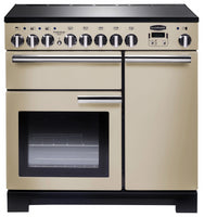 Rangemaster Professional Deluxe PDL90EICR/C 90cm Electric Range Cooker with Induction Hob - Cream/Chrome Trim