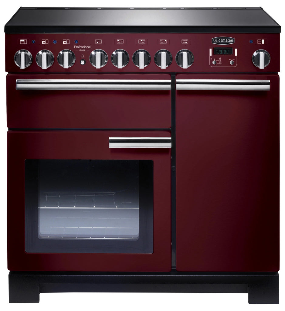 Rangemaster Professional Deluxe PDL90EICY/C 90cm Electric Range Cooker with Induction Hob - Cranberry/Chrome Trim