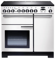 Rangemaster Professional Deluxe PDL90EIWH/C 90cm Electric Range Cooker - White/Chrome Trim