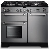 Rangemaster Kitchener KCH100DFFSS/C 100cm Dual Fuel Range Cooker - Stainless Steel/Chrome Trim