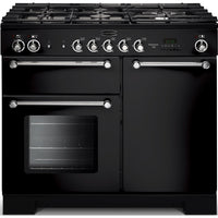 Rangemaster Kitchener KCH100DFFBL/C 100cm Dual Fuel Range Cooker - Black/Chrome Trim