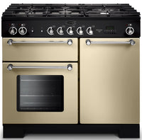 Rangemaster Kitchener KCH100DFFCR/C 100cm Dual Fuel Range Cooker - Cream/Chrome Trim