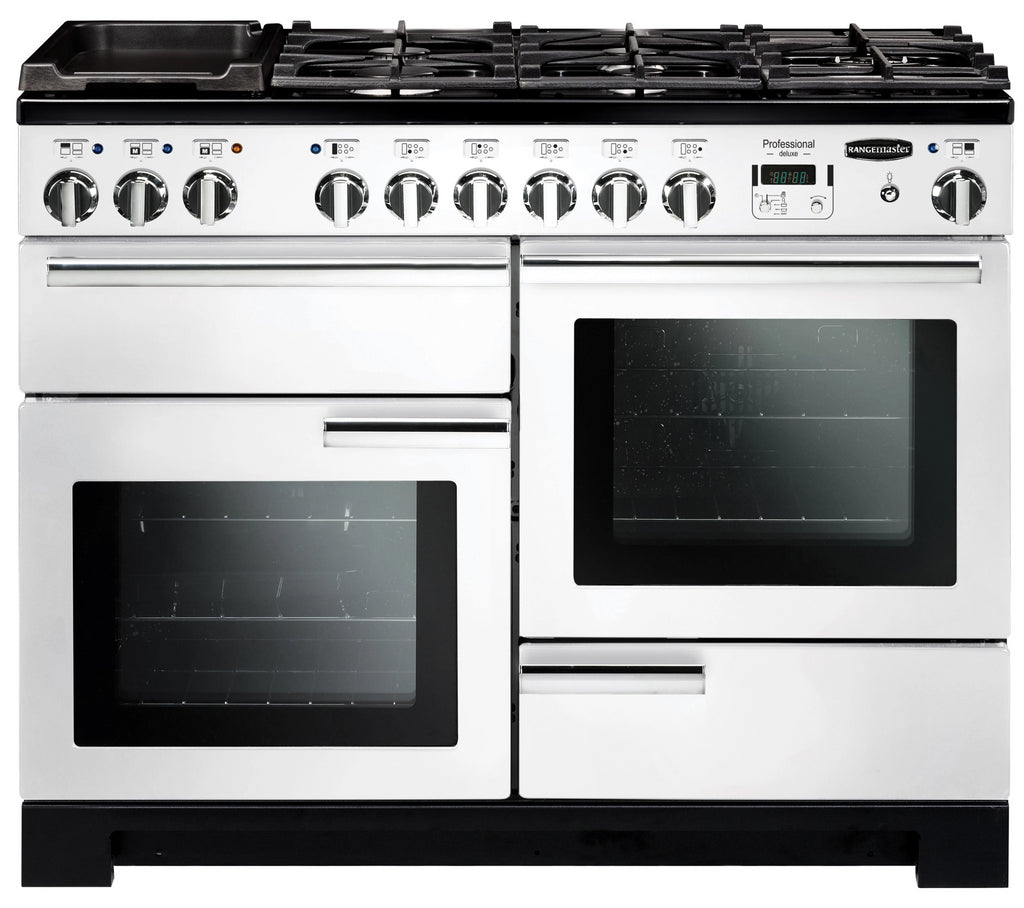 Rangemaster Professional Deluxe PDL110DFFWH/C 110cm Dual Fuel Range Cooker - White/Chrome Trim