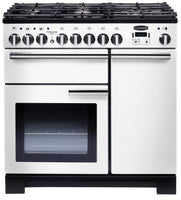 Rangemaster Professional Deluxe PDL90DFFWH/C 90cm Dual Fuel Range Cooker - White/Chrome Trim