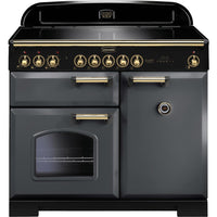 Rangemaster Classic Deluxe CDL100EISL/B 100cm Electric Range Cooker with Induction Hob - Slate/Brass Trim