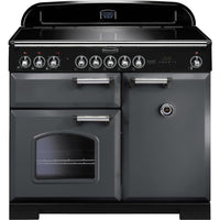 Rangemaster Classic Deluxe CDL100EISL/C 100cm Electric Range Cooker with Induction Hob - Slate/Chrome Trim