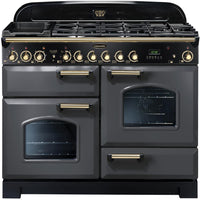 Rangemaster Classic Deluxe CDL110DFFSL/B 110cm Dual Fuel Range Cooker - Slate/Brass Trim