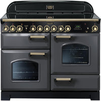Rangemaster Classic Deluxe CDL110ECSL/B 110cm Electric Range Cooker with Ceramic Hob - Slate/Brass Trim