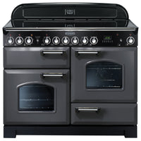 Rangemaster Classic Deluxe CDL110ECSL/C 110cm Electric Range Cooker with Ceramic Hob - Slate/Chrome Trim