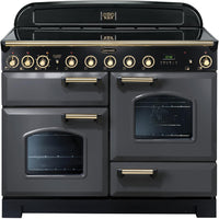 Rangemaster Classic Deluxe CDL110EISL/B 110cm Electric Range Cooker with Induction Hob - Slate/Brass Trim