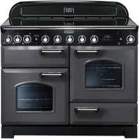 Rangemaster Classic Deluxe CDL110EISL/C 100cm Electric Range Cooker with Induction Hob - Slate/Chrome Trim